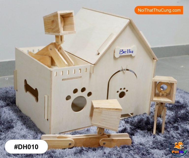 Nhà cho chó bằng gỗ thiết kế rất dễ thương