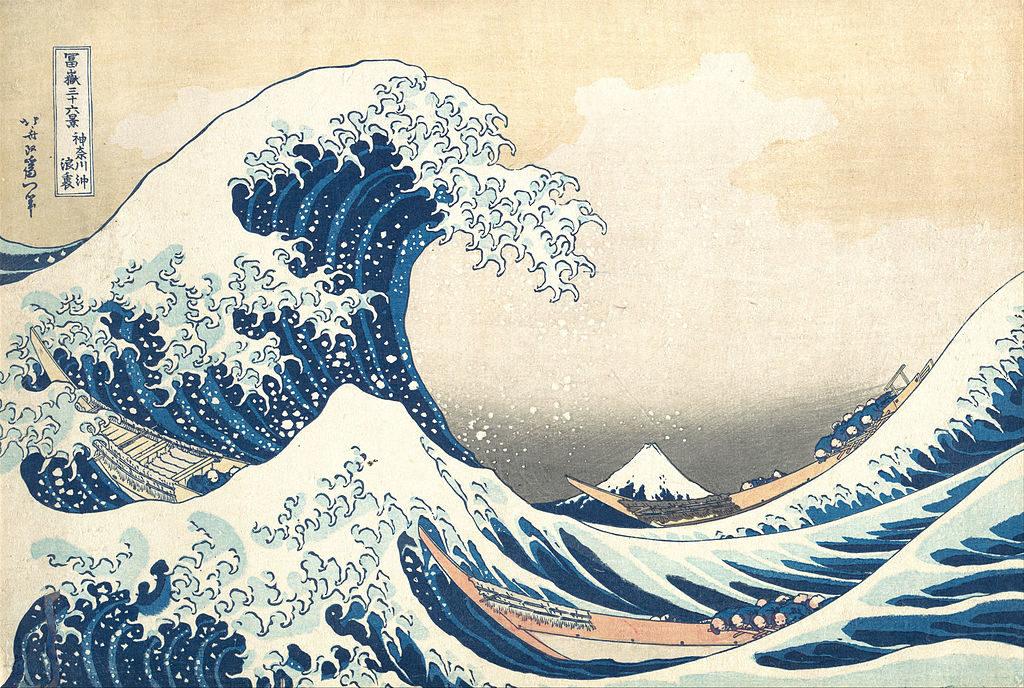 """Bức tranh """"Sóng lừng ngoài khơi Kanagawa"""" của bậc thầy ukiyo-e Hokusai."""